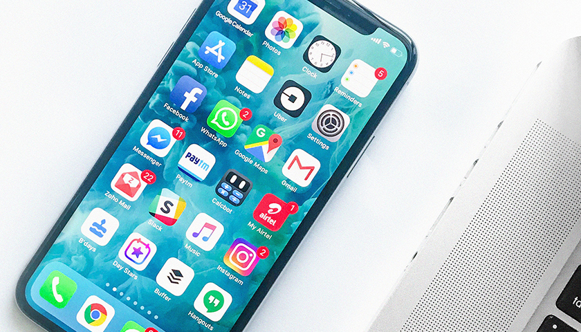 Smart phone opened on home screen