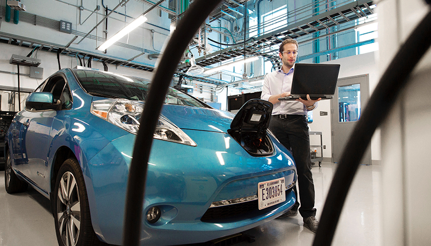 At NREL future research should focus on understanding consumer driving and charging behavior and the nuances determining the choice of residential charging infrastructure for plug-in electric vehicles (PEV). Shown is in the Power Systems Lab in the Energy systems Integration Facility (ESIF)